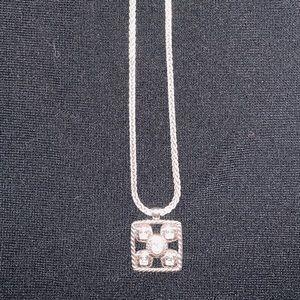 Brighton necklace - silver chain, 5 CZ Stones
